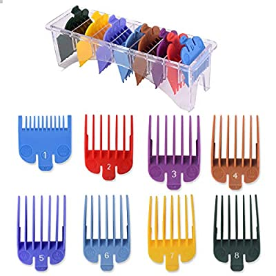 """8 Professional Hair Clipper Guards Cutting Guides Fits for Most Wahl Clippers with Organizer, Color Coded Clipper Combs Replacement - 1/8"""" to 1"""""""