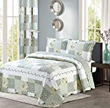 All American Collection New Reversible 3pc Floral Printed Patchwork Blue/Green Bedspread/Quilt Set Matching Curtains Available (King/Cal King Size)