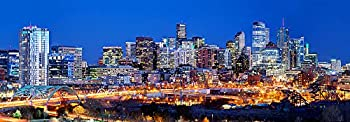 Denver Skyline 2018 Photo Print UNFRAMED Dusk from NW Color City Downtown 11.75 inches x 36 inches Broncos Photographic Panorama Poster Picture