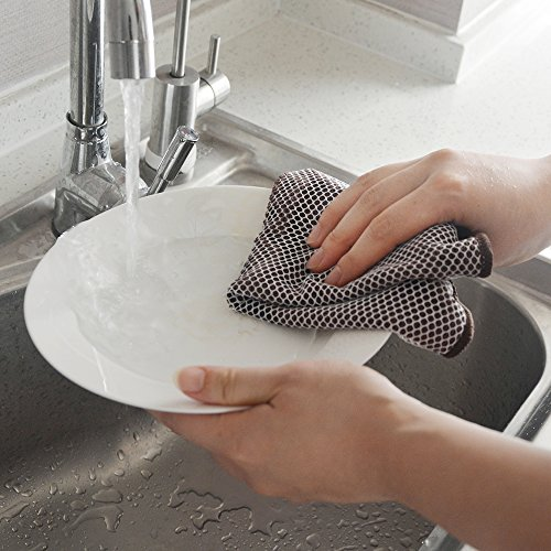 KinHwa Microfiber Dish Cloths Super Absorbent Kitchen Wash Cloth Dish Rags for Washing Dishes Fast Drying Cleaning Cloth with Scrub Side (Greyx9, 12inchx12inch)