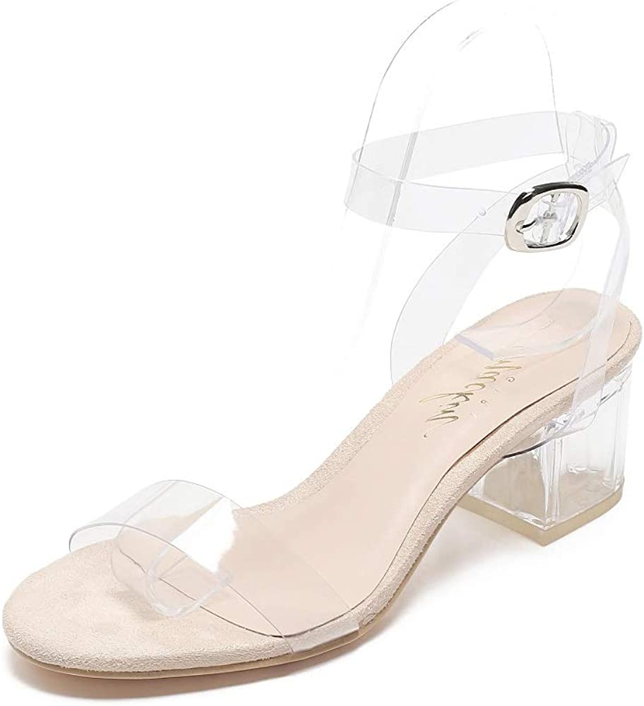 Mackin Girl G547-1 Women's Ankle Strap Clear Sandals Low Block Heel Transparent Shoes