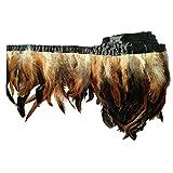 keland 2 yardas de pluma de gallo recortar flecos 5-8'en ancho DIY falda de mantón del cabo decoración de vestido de Halloween (marrón)