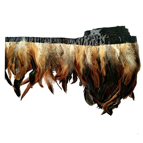 """keland 2 yardas de pluma de gallo recortar flecos 5-8""""en ancho DIY falda de mantón del cabo decoración de vestido de Halloween (marrón)"""