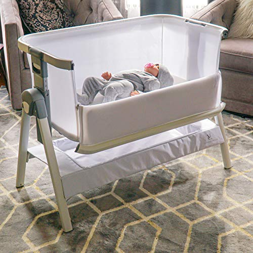California Dreaming Bedside Crib by VENICE CHILD - Bassinet w/Travel Case, Bamboo Bassinet Sheet, Removable Bamboo Compressed Cotton Mattress, Height Adjustable, Easy Clean - White
