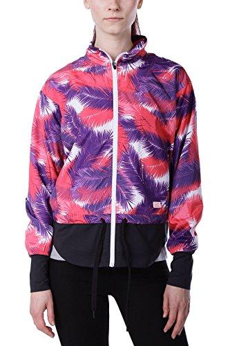 Emporio Armani EA7 Damen Trainingsjacke - Leichte Jacke Sportjacke mit Allover Palmen-Print - Mehrfarbig - Fux Palm Fancy, Farbe:Mehrfarbig;Größe:M