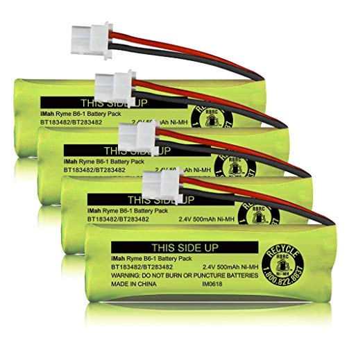 iMah BT183482/BT283482 2.4V 500mAh Ni-MH Cordless Phone Battery Compatible with VTech DS6401 DS6421 DS6422 DS6472 LS6405 LS6425 LS6426 LS6475 LS6476 Handset, Pack of 4