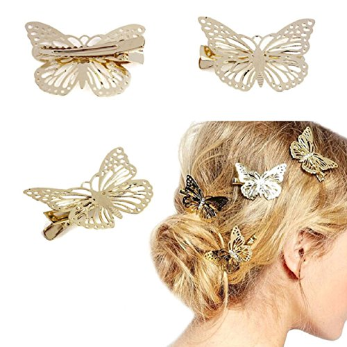 Malloom® Golden Butterfly Pince à Cheveux Bandeau Cheveux Accessoires Bandeau