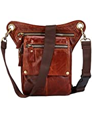 BRASS TACKS Leathercraft Vintage Handmade Outdoor Motorcycle Bike Drop Leather Leg Bag for Men Women Thigh Bag Waist Fanny Pack Rust Red Multi-Function Water Resistant Travel Sports