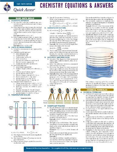 Chemistry Equations and Answers - REA's Quick Access Reference Chart (Quick Access Reference Charts)