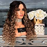 Full Lace Long Hair Wig Synthetic Curly Wavy Wig Middle Parting Body Wavy Hair,Cosplay Party,9A Grade Virgin Hair,Heat Resistant Fiber,28inch (A)