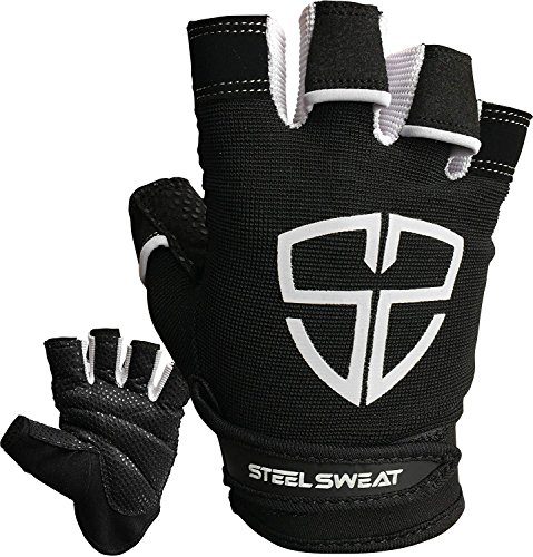 Steel Sweat Workout Gloves - Best for Gym, Weightlifting, Fitness, Training and Crossfit - Made for Men and Women who Love Weightlifting & Exercise – RUE Black XL