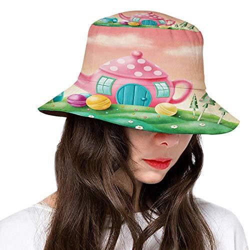 Sombrero de poliéster, elefante rosa volando a través del cielo felicidad libertad y fantasía,Sombreros de ala ancha mujeres hombres adolescentes