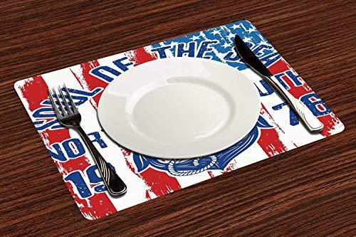 4er Set Platzsets 30x45cm,Anker, Vintage Design Anker mit Seil auf Grunge amerikanische Flagge Seele des Meeres Kunst dekorativ, blau rot ,Abwaschbar Platzdeckchen rutschfest Hitzewiderstandsfähig Tischsets
