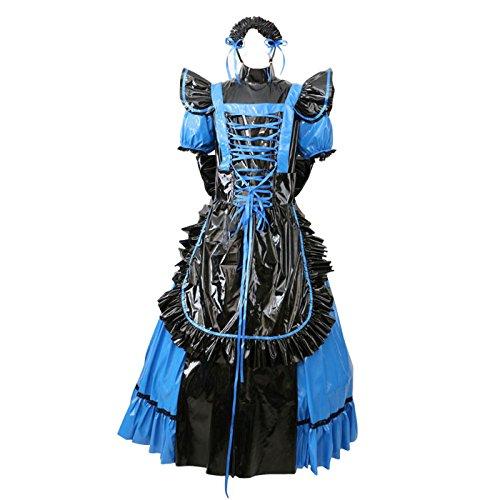 GOceBaby Sissi Abschließbar PVC Blau Kleid Kurzarm Gothic Lolita Uniform Kostüm (XL)
