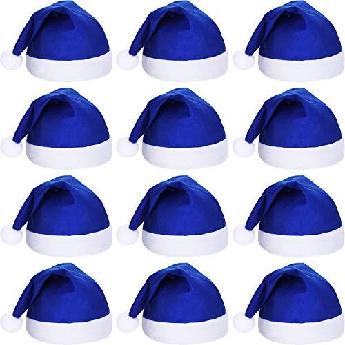 SATINIOR 12 Piezas de Sombrero de Papá Noel Gorra de Tela No Tejida de Navidad para Fiesta Navidad (Azul)