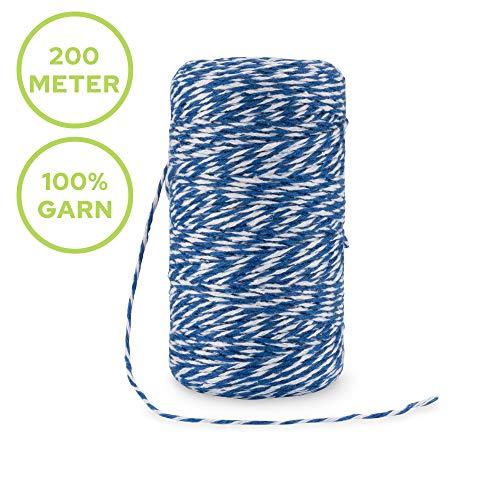 Rietlow Baumwollgarn 200m - Lebensmittelechter Küchengarn - Bindfaden zum Verschnüren, Backen oder auch Grillen - Verbesserte Küchengarn Version 2020 - Weiß/Blau
