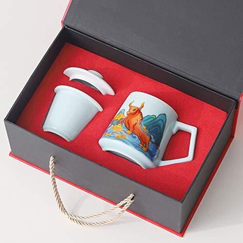 Taza de cerámica con filtro de tapa oficina taza de café de gran capacidad taza de separación masculina año del buey taza de leche B