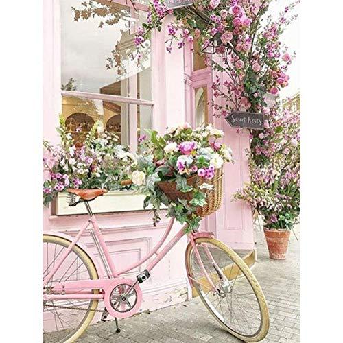 Lazodaer - Kit de pintura de diamante para niños, 5D para decoración del hogar, flores y bicicleta, 30 x 39,9 cm