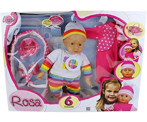 Lissi Baby-Puppe 46 cm mit Sprechfunktion + Puppen-Tragetasche Strampler und viel Zubehör und 6 Sounds