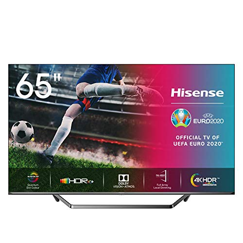 Hisense 65U7QF 163cm (65 Zoll) Fernseher (ULED, UHD, Quantum Dot, HDR 10+, DolbyVision, DolbyAtmos, Smart-TV, Local Dimming, WCG, USB-Recording, Ultra Slim Design, Mittelstandfuß) [Modelljahr 2020]