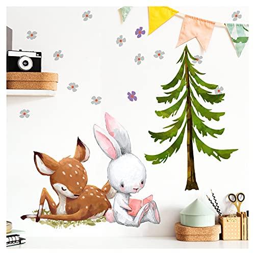 Little Deco Wandtattoo Babyzimmer REH & Hase mit Tanne I S - 57 x 33 cm (BxH) I Blumen Kinderbilder Deko Kinderzimmer Mädchen Aufkleber Sticker DL236