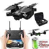 Mini 1080P Cámara Drone Cuadricóptero RC Plegable,Modo Sin Cabeza Seguir Foto Gesto Vuelo De Waypoint Control De Larga Distancia,para Profesionales Y Principiantes,Negro