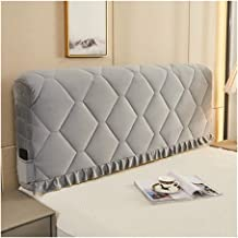 Velvet Bed Headboard Cover with Stretch Side and Pocket Dustproof Cotton Cover for Bedroom Decor (Color : Grey, Size : 1.8m)