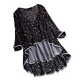 Blusa para mujer con cuello en V, camiseta de manga larga, transpirable, cómoda, de lino, con estampado irregular de flores, suelta, verano, patchwork, casual Negro L