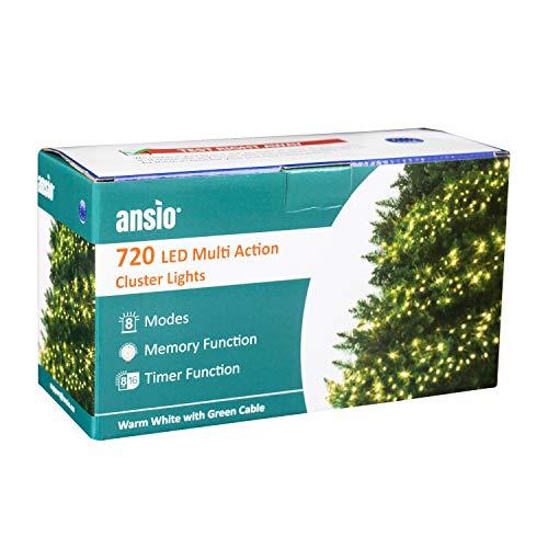ANSIO Lichterkette 720 LED 9m/29ft Cluster Weihnachtsbaum Beleuchtung Eisregen Lichterkette Aussen & Innen Für Weihnachten Deko/Hochzeiten/Party - Warmweiß