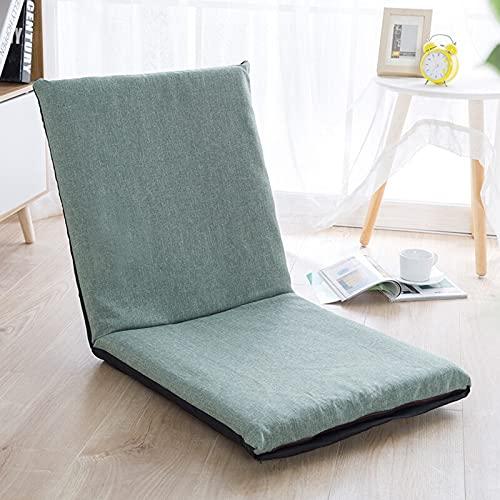QWESHTU Sofá Cama Plegable, sillón para Juegos con Tumbona Ajustable en el Suelo de 5 Posiciones, Asiento Acolchado, sillón Perezoso para Dormitorio, Sala de Estar,Verde