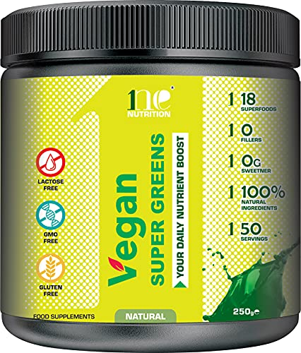 1ne Nutrition Super Greens Powder 250g | Ultimate Immune Support | Green Powder Superfood for Immunity, Energy and Detox | Vegan, 100% Natural| No GMO, No Gluten, No Fillers | 50 Servings