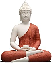 Chinese Sitting Buddha, Handmade Ceramic Shakyamuni Statue Figurine, Classical Ming and Qing Buddha Sculpture Ornament [ 1...