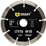 GRAFF Disco diamantato 115 mm per Smerigliatrice angolare - Disco da taglio per Cemento, Pietra, Mattoni, Calcestruzzo, Granito - 4.5 inch