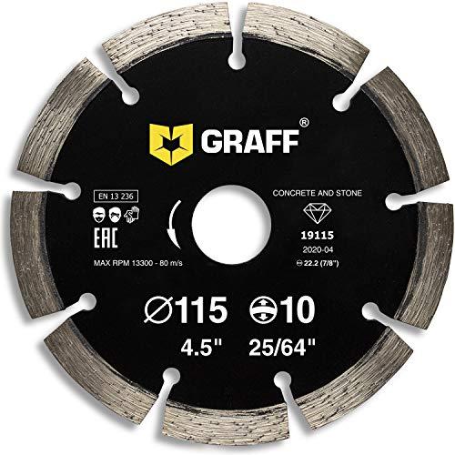 GRAFF Disco diamantado de 115 mm para amoladora angular – Disco de corte para hormigón, piedra, ladrillo, hormigón, granito, 4,5 pulgadas