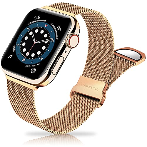Metal Band Stainless Steel Mesh Magnetic Compatible with Apple Watch Bands 38mm 40mm 41mm 42mm 44mm 45mm, Milanese Sport Clasp Loop Women Men Compatible for iWatch Series 7/SE/6/5/4/3/2/1 Gold
