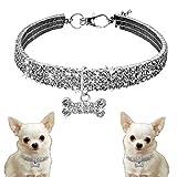 Eizur Bling Dog Collar, Adjustable Pet Puppy Cat Crystal Diamante Rhinestone Collars with Bone Pendant Necklace for Small Medium Large Dogs, White, (S: 20CM+5CM Adjustable chain)