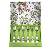 SERVE WITH STYLE: A wonderful addition to afternoon tea, this Botanic Garden pastry fork set from Portmeirion features a variety of motifs on the porcelain handles and is presented in a beautiful box making it an ideal gift. GREAT ADDITION TO ANY MEA...