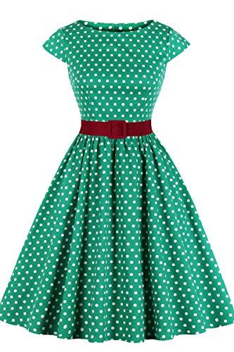 MisShow Damen elegant Vintage 50er Petticoat Kleider Gepunkte Rockabilly Swing Kleider Festlich Cocktailkleider Gruen Gr.L | Bekleidung > Kleider > Petticoat Kleider | MisShow