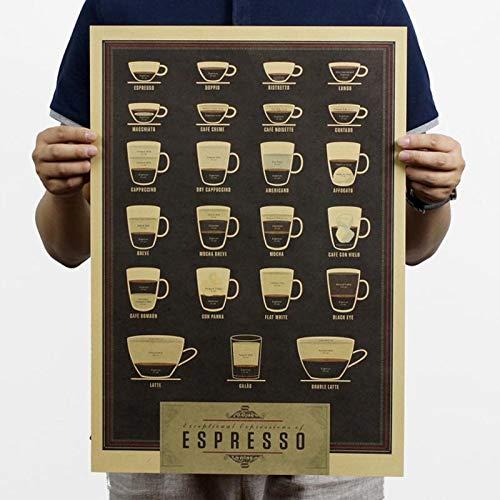 BLOUR Café, Cerveza, Vino Tinto, Vasos para Bebidas, Linterna Verde, Papel Kraft, Pegatinas de Pared, póster de cafetería, póster Retro, Pintura Decorativa