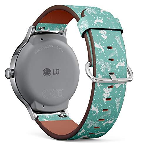 Compatible con LG Watch Style, Correa de Reloj de Cuero con pasadores...