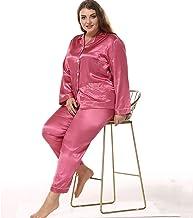 Plus size dames satijnen pyjama set, 2-delige huiskleding casual pyjama, zwangere vrouwen losse shirt tops met knopen, Smo...