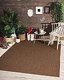 Mia´s Teppiche Lara - Alfombra de Tejido Plano para Interiores y Exteriores, Resistente a los Rayos UV y a la Intemperie, Color marrón, 160 x 220 cm, 100% Polipropileno, 160 x 220 cm