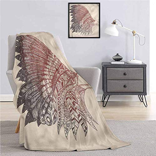 Eagle Large Flannel Flannel Plush Blanket Bird Oriental Tribal Ornament Lightweight and Soft for Bed Sheets and Living Room W60 x L70 Inch