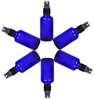 スプレーボトル ガラス制 アルコール対応 50ml 6本入 漏斗が付属 (Blue)