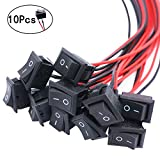 Twidec/10Pcs AC 6A/250V 10A/125V SPST 2 Pins 2 Position ON/Off Car Boat Square Black Rocker Switch Toggle with Pre-soldered Wires(Quality Assurance for 1 Years)KCD1-3-101-X-H