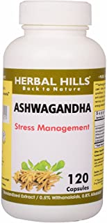 Herbal Hills Ashwagandha Capsules | Withania somnifera 120 Vegie capsules