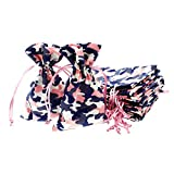 Linen and Bags 4' x 6' Camo Print Natural Cotton Favor Bags with Drawstring for Gifts, Weddings, Jewelry, and Party Favors - Pack of 24 (Pink Camouflage)