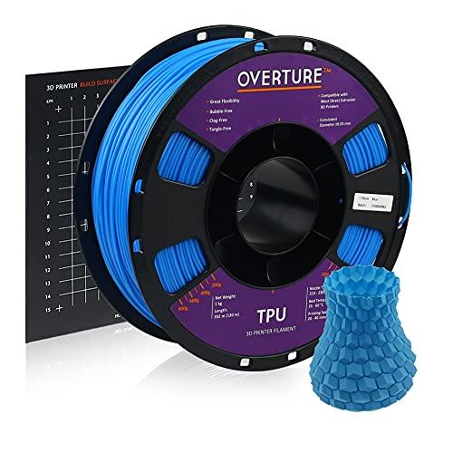 OVERTURE Filamento de TPU Rollo de TPU flexible de 1,75 mm con consumibles blandos de impresora 3D de 200 x 200 mm, bobina de 1 kg (2,2 libras), precisión dimensional +/- 0,05 mm(Azul eléctrico)
