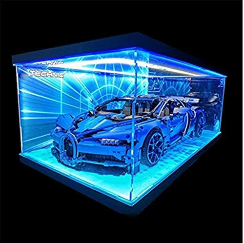 obzk Caja de exhibición de acrílico, Vitrina de acrílico con Luces en Tres Lados, para Modelo de Bloques de construcción Compatible con 42083 Technic Bugatti Chiron (No Incluye el Modelo)