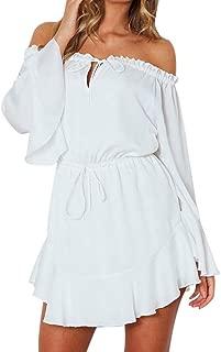 Off Shoulder Dress Women Solid Color Flare Sleeve Slash-Neck Dress